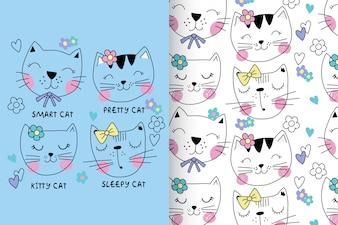 Ręcznie rysowane słodkie kotek z wzorem