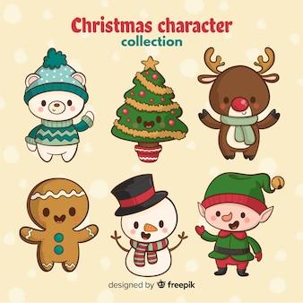 Ręcznie rysowane słodkie postaci Bożego Narodzenia