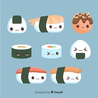 Ręcznie rysowane słodkie sushi kolekcja