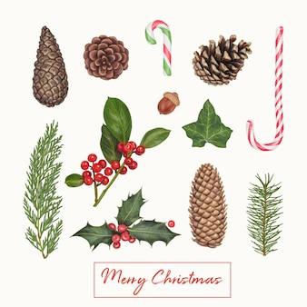 Ręcznie rysowane słodkie zimowe dekoracje