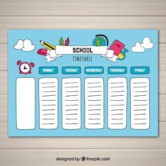 Ręcznie rysowane szablon plan lekcji