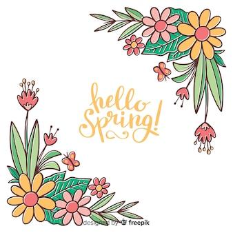Ręcznie rysowane tła wiosna kwiatów rogu