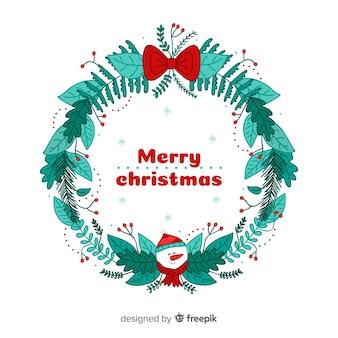 Ręcznie rysowane tło wieniec Boże Narodzenie