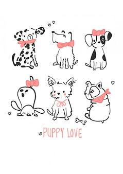 Ręcznie rysowane wektor ładny pies do druku t shirt