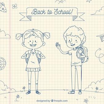 Ręcznie rysowane z powrotem do szkoły w tle