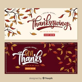 Ręcznie rysowane zestaw transparent Dziękczynienia
