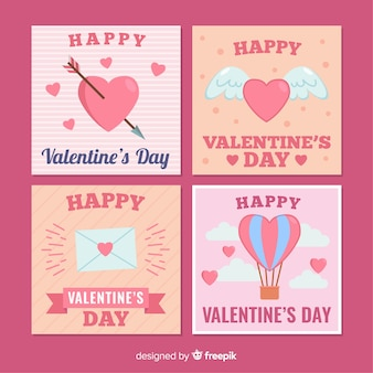 Ręcznie rysowane zestaw valentine karty