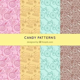 Ręcznie rysowane zestaw wzorców cukierków