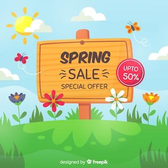 Ręcznie rysowane znak wiosna sprzedaż tło