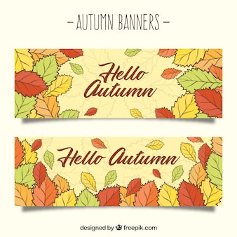R? cznie narysowane jesieni? transparenty z kolorowych li? ci