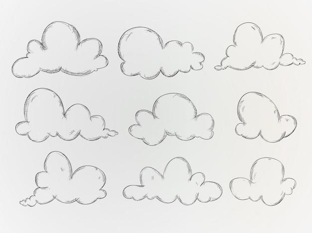 R? cznie rysowane chmury kolekcja