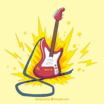R? cznie rysowane gitara elektryczna tle