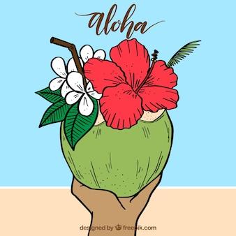 R? cznie rysowane orzech kokosowy aloha tle