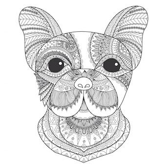 R? cznie rysowane psa tle g? owy