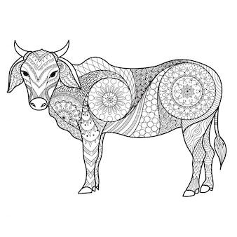 R? cznie rysowane tle byka