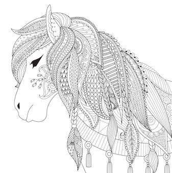 R? cznie rysowane tle konia