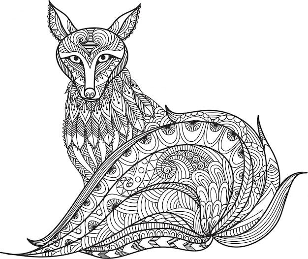 R? cznie rysowane tle liska