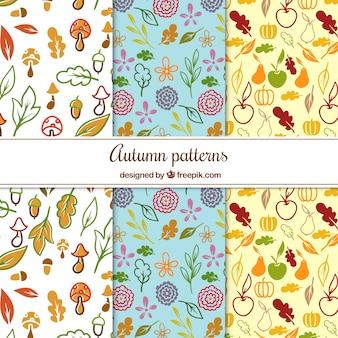 R? cznie rysowane wzory z jesieni elementów