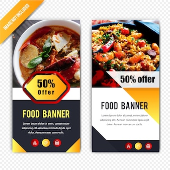 Rabat na jedzenie poziomy banner projekt