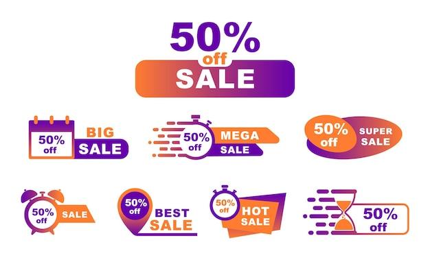 Rabat na kolekcję 50%. tagi sprzedaży. rabat procentowy. transparent