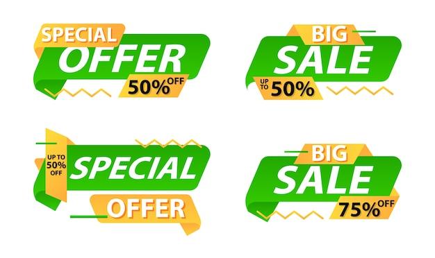 Rabat oferta sprzedaży naklejki etykiety na baner szablonu
