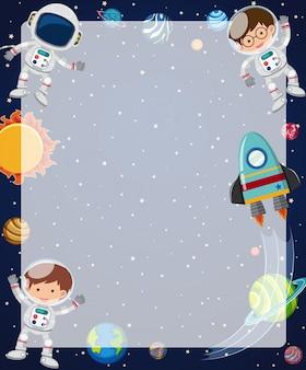 Rabatowy szablon z astronautami lata w niebie