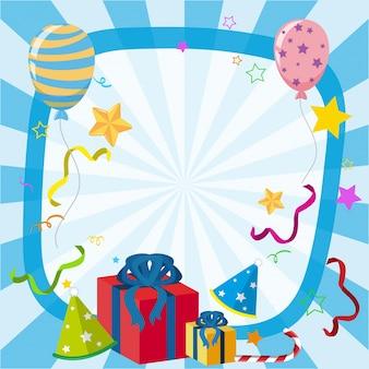 Rabatowy szablon z balonami i prezentami