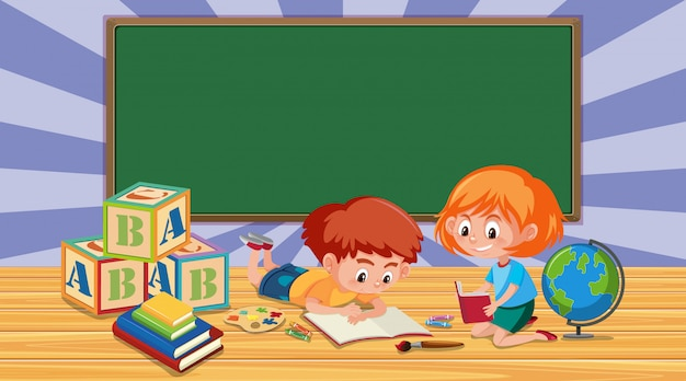 Rabatowy szablon z chłopiec i dziewczyny czytelniczą książką