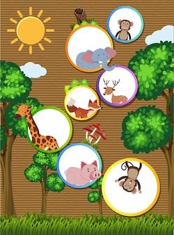 Rabatowy szablon z dzikimi zwierzętami na kartonie