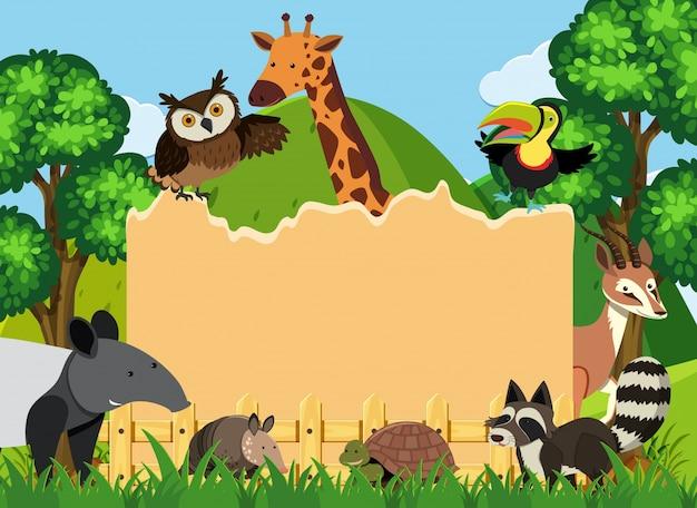 Rabatowy szablon z dzikimi zwierzętami w parku
