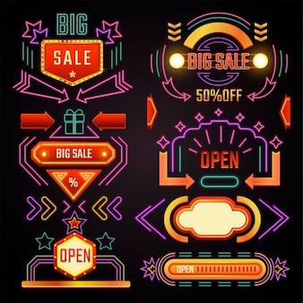 Rabaty i promocje, reklama sprzedaży i obniżki ceny, izolowane banery neonowe