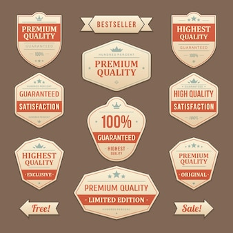 Rabaty na znaczki i naklejki bestsellerów. vintage wyblakła etykieta z najlepszymi promocyjnymi ofertami promocyjnymi ze skóry czerwonej. luksus gwarantuje najwyższą jakość oryginalnego emblematu z nastawieniem na biznes.
