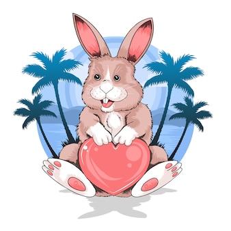 Rabbit lato beach holding miłość serce wektor dobrze do elementu flyer lub thsirt artwork