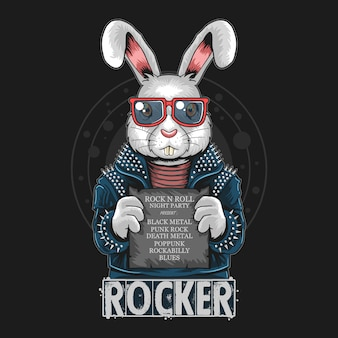 Rabbit rock n roll bunny artwork