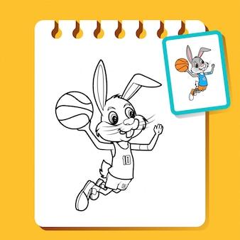 Rabbit slam dunk, ilustracja sztuki linii koszykówki do kolorowania książki lub strony