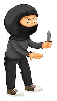 Rabuś w czerni trzyma nóż