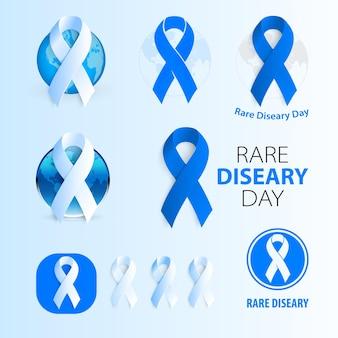 Race diseare day medic wektor na białym tle logo niebieska wstążka wektor rzadka choroba