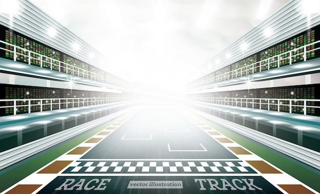 Race track arena ze światłami punktowymi i linią mety