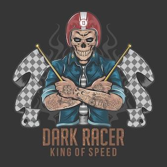 Racer skull rider z tatuażem