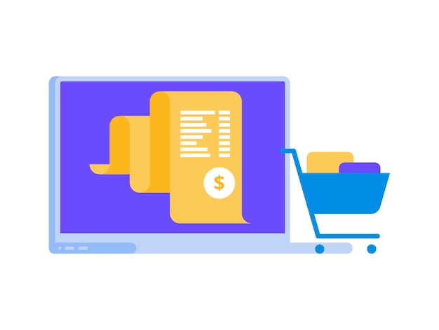 Rachunek elektronowy, płatności online systemu rozliczeniowego, koncepcja raportu finansowego, ikona płaskiego laptopa