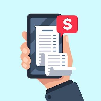 Rachunek za smartfon, czek rozliczeniowy online, sprawdzanie rachunków i potwierdzenia wypłaty mobilne powiadomienie płaskie