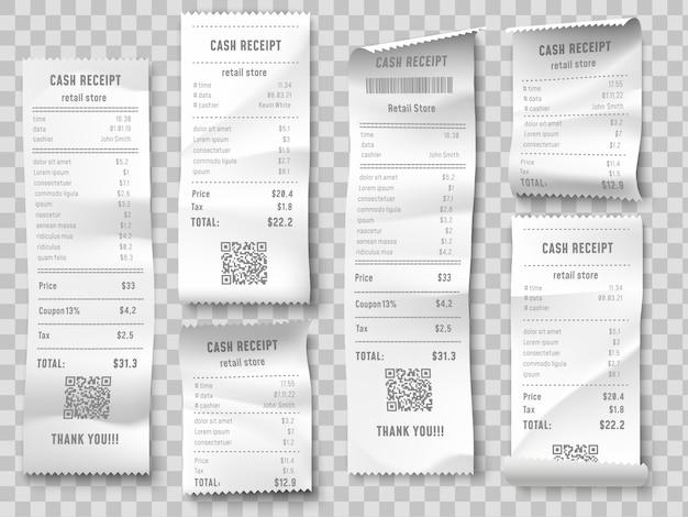Rachunek zakupu detalicznego, potwierdzenie zakupu w supermarkecie, sprawdzenie faktury sumy i całkowity koszt sprzedaży papieru w sklepie na białym tle zestaw