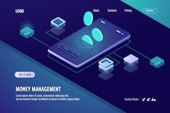Rachunkowe pieniądze, izometryczny bank online, poziomy baner aplikacji mobilnej na kryptowalutę
