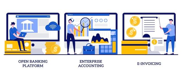 Rachunkowość przedsiębiorstwa, koncepcja e-fakturowania z ilustracjami małych ludzi