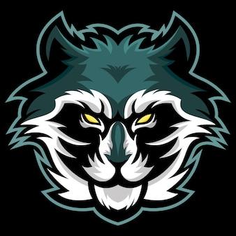 Racoon head esport logo ilustracja