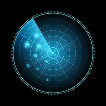 Radar hud z celami w akcji wojskowy system wyszukiwania