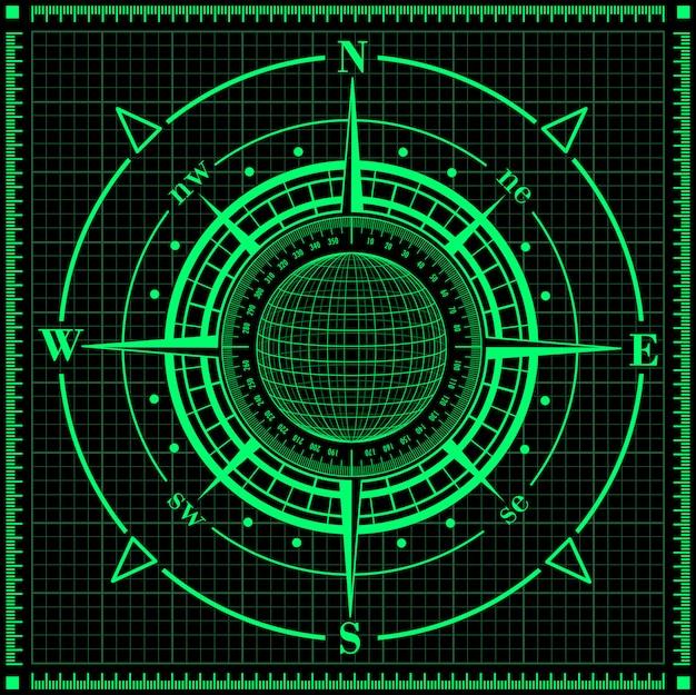 Radar kompas róży z globusem.