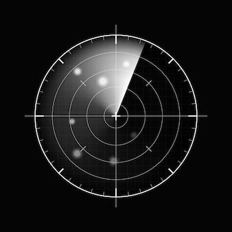 Radar na ciemnym tle. wojskowy system wyszukiwania. wyświetlacz radaru hud, ilustracja