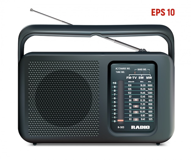 Radio czarny wektor