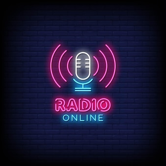 Radio online neony styl tekst wektor